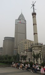 The Bund and the Gutzlaff Signal Tower (Shanghai, China) (courthouselover) Tags: china 中国 peoplesrepublicofchina 中华人民共和国 shanghaishi 上海市 shanghai 上海 thebund 外滩 huangpudistrict huangpu 黄浦区 asia