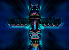 Night lodge spirit (Camilla's photos! Thank you for viewing ) Tags: abstract art spirit blue night lodge olympus photohsop digital manipulation eagle totem bear wood carvings movement expression wings faithvalley britishcolombia canada native indian norway black imagination fantasy