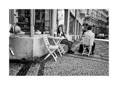 Summer afternoon (Jan Dobrovsky) Tags: street city summer people blackandwhite bw texture monochrome contrast cafe prague outdoor grain document leicaq
