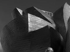 Guggenheim en Noir et Blanc (chrdraux) Tags: espagne paysbasqueespagnol euskadi museum muse guggenheim architecture art oeuvre artistique culturel culture faade titane boule miroir reflet verre noiretblanc formes courbes atypique