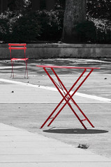 If you love someone set them free (James_D_Images) Tags: table chair separation separated courtyard red selectivecolour selectivecolor anthropomorphic