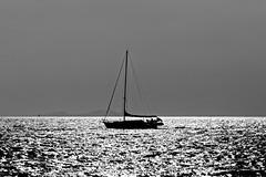 Sailing in a burning sea (bbarekas) Tags: sailboat sea sunlight sunset waves beach 135mm eot iroonpolitechniou patras achaia peloponnese greece