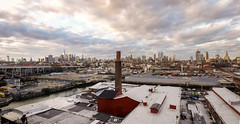 Empire 003 (Cycle the Ghost Round) Tags: smithninthstreets mta station stop view panorama nyc newyorkcity brooklyn manhattan skyline afternoon cloudy overcast colorful beautiful stunning vast grand perspective industry industrial factory foundry serettmetalworks red