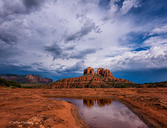 The Ripple Effect (TreeRose Photography) Tags: ripple puddle water reflection stormy sky clouds redrocks southwest outdoors landscape scenery sedona cathedralrocks arizona