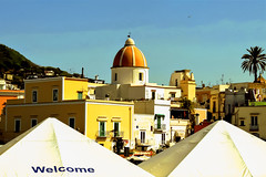 Welcome (Lella '54) Tags: cieloblu bluesky chiesa church cupole palma casecolorate casegialle yellowhouse palmtree
