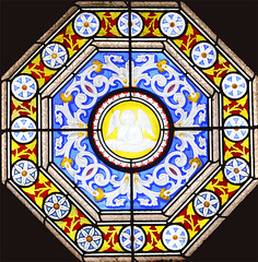Victorian Glasgow Stained Glass Window 2 (RDW Glass) Tags: victorian scotland stainedglass glasgow glass decorative acid etched flash ruby blue amber angel rdwglass dennistoun craigpark