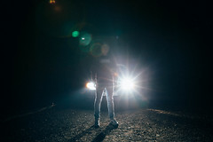 Lights in the Dark (jaminjan96) Tags: car light dark night forest portrait selfie me model boy core bright germany europe kaiserslautern nature scary creepy contrast blackandwhite