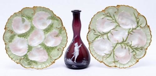 Pair of Porcelain Limoge A/L Hand Painted Oyster Plates ($123.20)