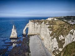 Elephant Rock at Low Tide (enneafive) Tags: elephant cliffs etretat france lowtide ocean water blue rock olympus omd em5