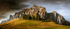 Up. (marco soraperra) Tags: mountain rock stone architecture landscape sky clouds light shadow september outdoor tree grass nature cliff weather sun panorama
