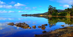 Early Morning REFLECTIONS (elliott.lani) Tags: wow blue scene view seascape scenictasmania color colourful colour beautiful clouds sky bluesky rocks bush trees reflection reflections nature naturephotography