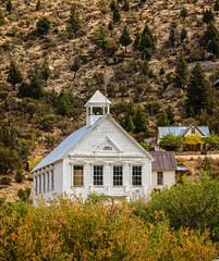 Old School (http://fineartamerica.com/profiles/robert-bales.ht) Tags: architecture forupload haybales idaho people photo places projects school slivercithy states education country old building rural vintage wooden wood house abandoned schoolhouse antique room rustic historic landmark pioneer oldest national america white usa bell countryside traditional ghosttown wildwest cowboys countrywestern museum mountains deserted pacificnorthwest abandon classroom belltower american weathered historical educational landscape history slivercity robertbales standardschool