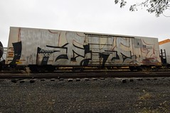 REKEN (TheGraffitiHunters) Tags: graffiti graff spray paint street art colorful freight train tracks benching benched reken reefer unfinished whole car