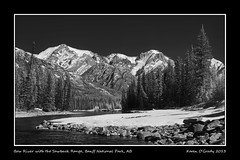 Bow River with the Sawback Range, Banff National Park, Alberta (kgogrady) Tags: park trees blackandwhite bw mountain snow canada mountains west tree water rock river landscape rockies 1 frozen blackwhite spring nikon highway afternoon natural g rocky noone peak sunny ab nopeople canadian highway1 national alberta bow western infrared banff rockymountains peaks nikkor range bowriver dx banffnationalpark parkscanada bowvalley flowingwater ifed 2013 d80 sawback sawbackrange cans2s nikkor1870mmf3545gifed