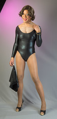 Snug Fitting? (kaceycd) Tags: pumps highheels tgirl bodysuit stilettoheels miniskirt pantyhose crossdress spandex lycra tg leotard stilettos wetlook platformheels sexypumps opentoepumps platformpumps stilettopumps peeptoepumps