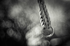 Hold on! (memories-in-motion) Tags: bw rope safety ring sw schwarzweiss weiss tool minimalist schwarz holdon seil sicherheit meyergrlitz geflochten metallring canon5dmarkiii trioplan100