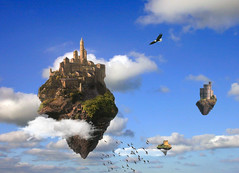 A castle in the clouds. (Bob__Gilmour) Tags: tower castle flying eagle quote altitude floating bluesky flockofbirds whiteclouds castleintheclouds