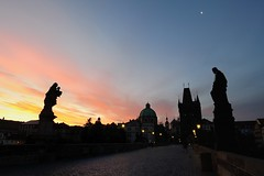 Sunrise over Charles Bridge (Alan Dreamworks) Tags: sunset skyline river europe cityscape czech prague gothic praha bridget czechrepublic        oldtownbridgetower  cityscrape  nikond3 flickrunitedaward flickrtravelaward charlesbridget alandreamworks