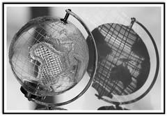 The World from Both sides ....! (Colink321) Tags: world blackandwhite bw sunlight reflection glass globe glow sony earlymorning glowing theworld crystalglobe