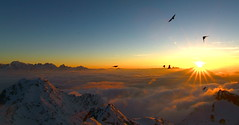 An Alpine sunset. (clicheforu) Tags: blue winter light sunset wild orange sun white mountain snow ski alps bird love luz nature beauty montagne alpes trek canon season landsc