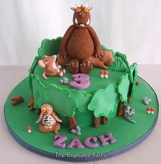 GRUFFALO! (The Cupcake Tarts (previously Tutta Bella)) Tags: trees cake zach strand forest southafrica mushrooms mouse forrest snake celebration fox owl 3yearsold gruffalo westerncape fondant somersetwest thecupcaketarts
