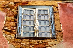 Blue Window - Explored (Paulo N. Silva) Tags: old building window glass ruins stones