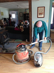 Judy vacuuming the dust (elizajanecurtis) Tags: home kitchen maple vacuum judy renovation refinishing homeimprovement woodfloor limington kitchenfloor maplefloor