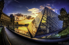 Golden Hour at the Louvre (Kris Kros) Tags: camera sunset paris france reflection glass photoshop sunrise lens photography nikon raw pyramid louvre fisheye adobe kris acr hdr kkg d300 photomatix cs6 kros tonemapped kriskros 5xp dsc4969 frankba kkgallery frankbaillet dsc496970717273