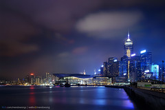 WanChai (mendowong) Tags: city longexposure light hk cloud building water night mall hongkong construction cityscape sony victoria wanchai rx1