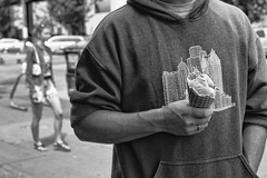 Scott's Ice Cream Cone (John Westrock) Tags: seattle street people blackandwhite bw man male canon streetphotography 7d washingtonstate icecreamcone sigma35mmf14