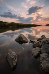 Natomas Sunset (boingyman.) Tags: california sunset seascape reflection vertical clouds landscape rocks sacramento scape waterscape natomas boingyman