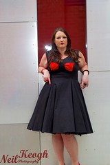IMG_4502 (Neil Canon Keogh) Tags: red black vintage necklace highheels dress retro ring redhead bow buskers bracelet heels rockband pinup pinupgirl trianglesquare manchestercitycenter dressmodellaura