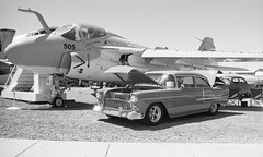 Car show at the Paso Robles Warbirds Air Museum (bcgreeneiv) Tags: california blackandwhite bw classic chevrolet film car vintage automobile olympus xp2 chevy ilford om2n