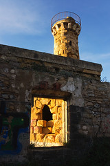dirty and abandoned fortification with a tower (Mikel Martnez de Osaba) Tags: old sunset sky building tower abandoned window monument rock stone wall architecture square ancient fort grunge ruin medieval historic frame historical fortification past stronghold fortress ruined rampart getxo