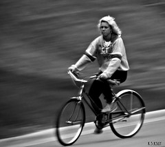 6-03-13  Twilight Cyclist (nevikk) Tags: road cyclist heading blondhair southriver