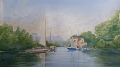 Au bord de l eau (ybipbip) Tags: paint painting aquarelle aquarell watercolor watercolour akvarel acuarela landscape bateau boat tree arbre