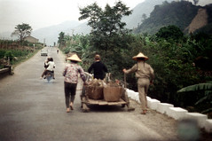 32-681 (ndpa / s. lundeen, archivist) Tags: nick dewolf nickdewolf 32 reel32 color photographbynickdewolf 1970s 1972 fall film 35mm winter republicofchina taiwan taiwanese china chinese rural rurallife people road street highway hats conicalhats traditionalhats workers working baskets pushing cart wagon motorbike motorcycle car automobile hills mountains barefoot 1973