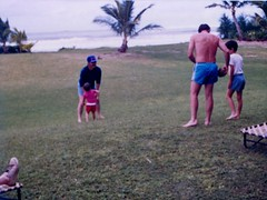 Games on the Lawn - c1983 (kimstrezz) Tags: 1983 familytriptohawaiic1983 hanaleibay kauai dad bert michael unclebob