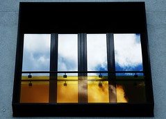 Heaven and hell (reflected collision) (mkorolkov) Tags: urban urbanexploration window sky clouds reflection blue yellow heaven hell collision pane minimalism fujifilm xe1 xc50230