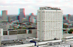 Erasmus MC Rotterdam 3D (wim hoppenbrouwers) Tags: anaglyph stereo redcyan view from euromast erasmusmc rotterdam 3d erasmus mc
