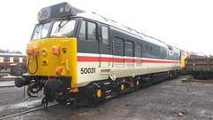 50031 outside Kidderminster TMD (Decibel Dave) Tags: severnvalleyrailway kidderminster diesellocomotive englishelectric class50 50031