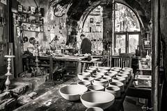 Chawan maker, traditional tea cups for chado (Bruno Frerejean (Bruno Mallorca)) Tags: chawan shado zen spirituality blackwhite blancoynegro tallerdeceramista strobism strobismo