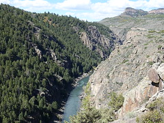 The Gunnison River in Western Colrado (lhboudreau) Tags: outdoors outdoor landscape landscapes colorado usa gunnison westerncolorado gunnisonriver canyon canyons river stone cliff cliffs rock rocks chasm crag rockformation rockformations plant plants green greenery hill mountainside gorge