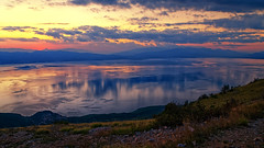 Afterglow (Alfred Grupstra Photography (bussy until 30 octobe) Tags: lakeohrid clouds lake mountains sundown twilight water ohrid macedonivjrm mk reflection