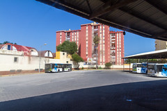 The bus station in La Linea, Spain (TimOve) Tags: vacation ferie trip summer sommer bustrip busstation lalinea gibraltar dirtywindow