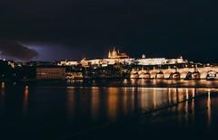 Prague at Night (desomnis) Tags: prag pragerburg praguecastle prague praha czechrepublic traveling travelphotography travel europe bynight night nightlight reflection desmonis canon6d sigma35mm charlesbridge karlvmost karlsbrcke