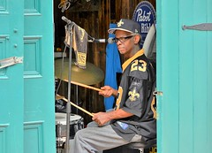 Open Door Music in New Orleans (forestforthetress) Tags: man band gig music musician festival concert color jazz blues neworleans omot nikon saints drums drummer