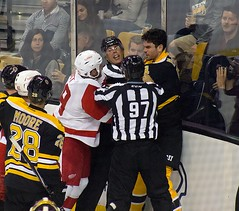 #54 Adam McQuaid challenges #29 Steve Ott (Odie M) Tags: nhl hockey icehockey boston tdgarden preseason teamsport sport ice fight roughing bostonbruins detroitredwings adammcquaid tough dominicmoore steveott lukeglendening mattgrzelcyk