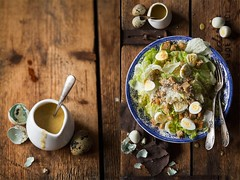 Caesar salad with quail eggs (bognarreni) Tags: food salad healthy sauce lettuce foodphotography quailegg foodstyling