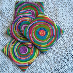 Dizziness (klio1961) Tags: summer orange spring purple handmade unique oneofakind polymerclay fimo resin madebyme authentic coasters pardo cernit kitchenstuff premo xeiropoiito decoratedobjects